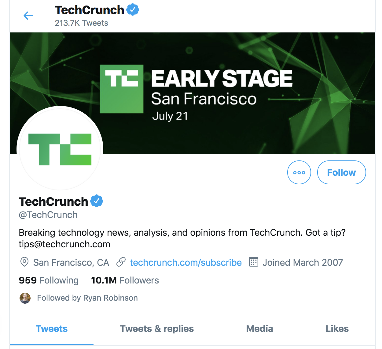 Tech Crunch's Twitter Account (Screenshot)