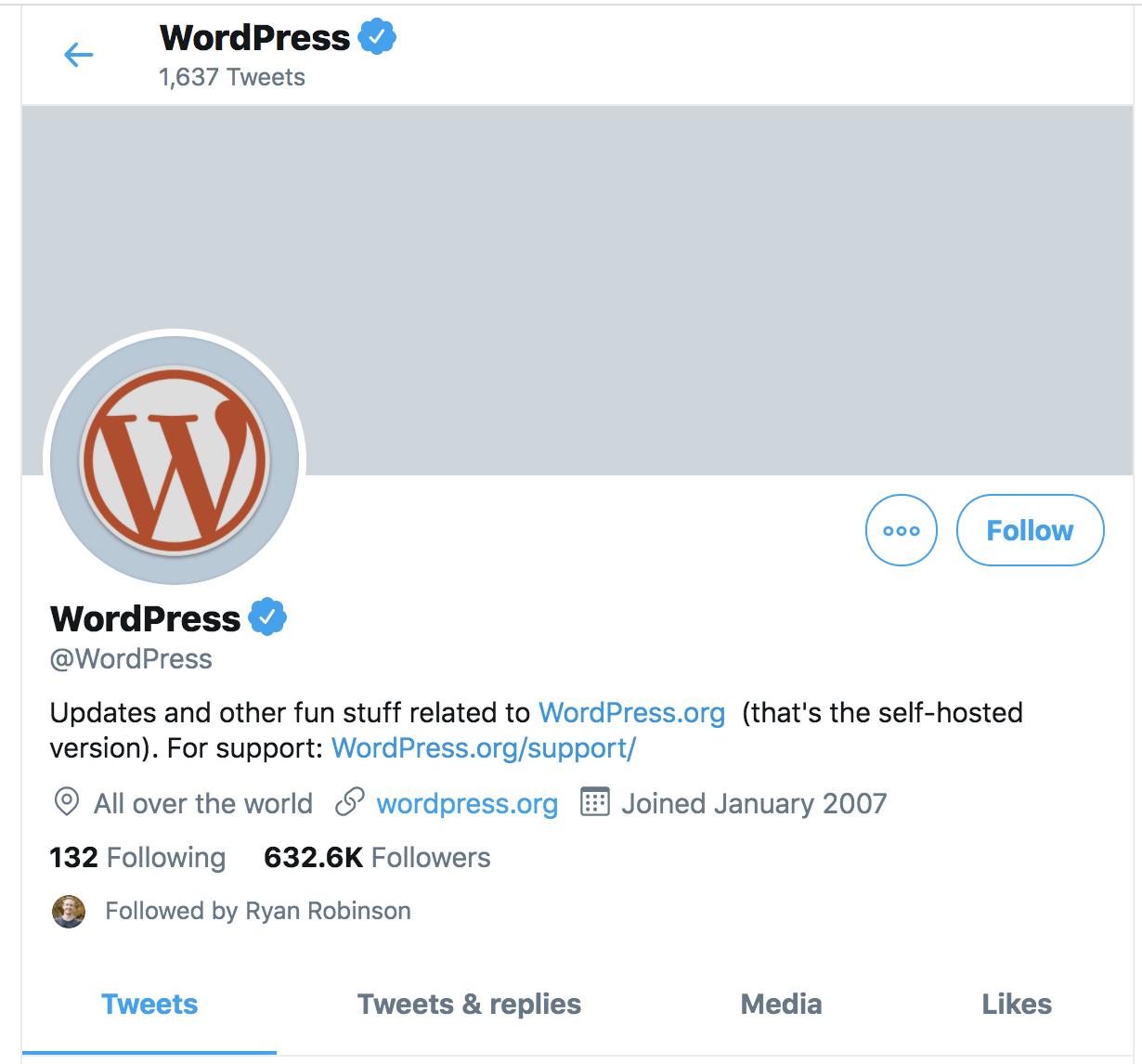 Screenshot of WordPress Twitter Account (Example of Using Twitter Lists)