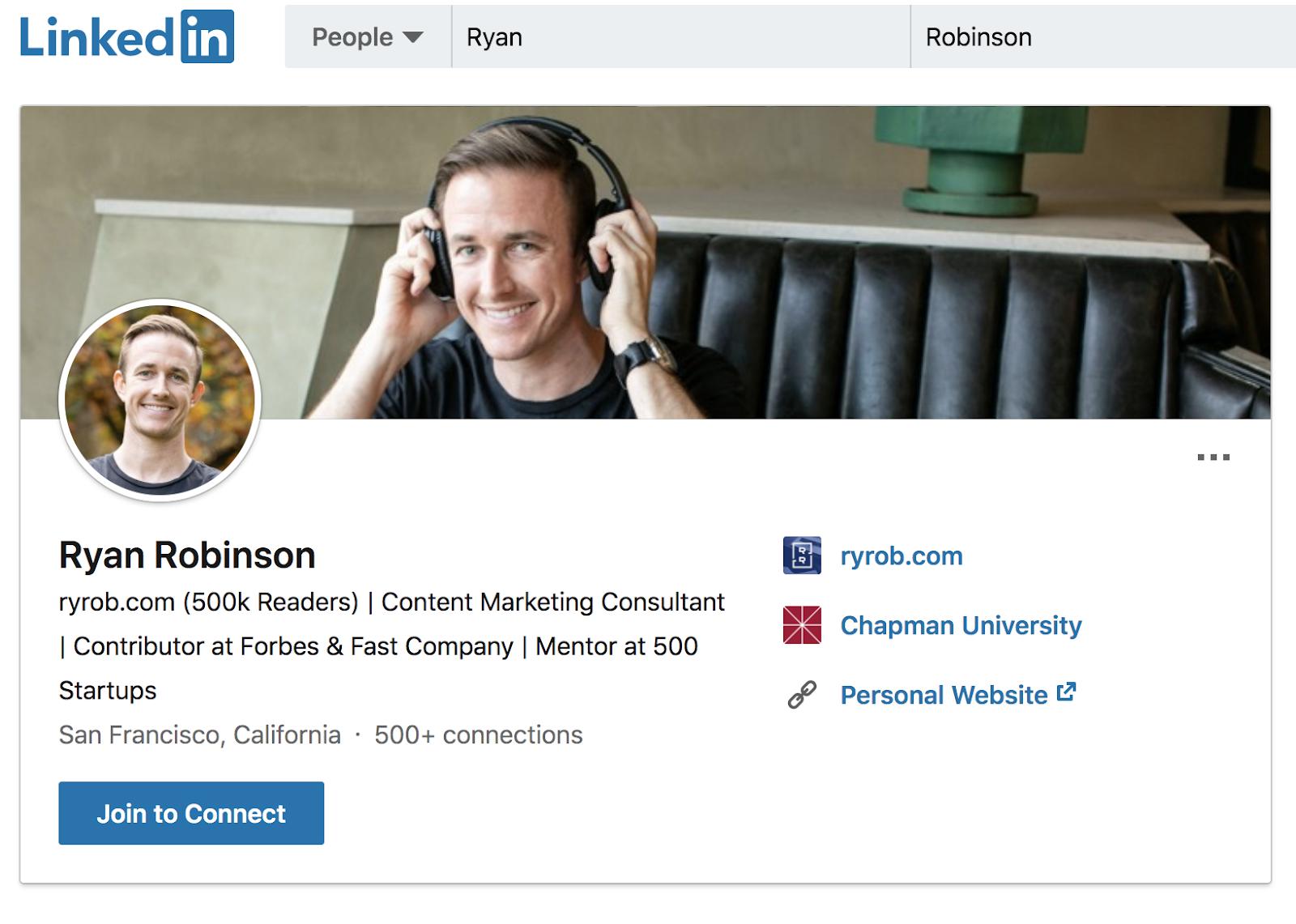 Ryan Robinson LinkedIn Profile (Screenshot Example)