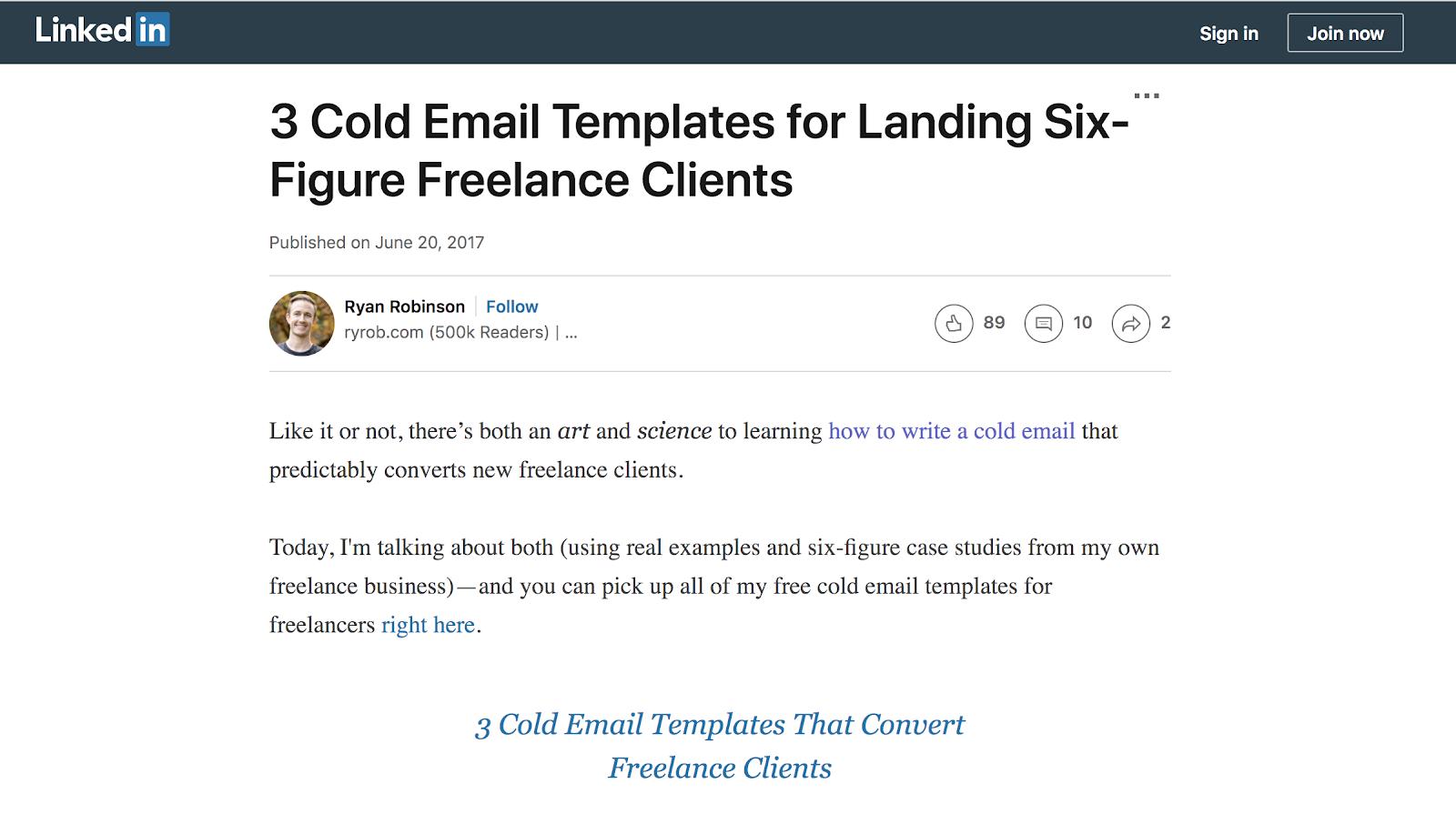 LinkedIn Article Example (Screenshot)