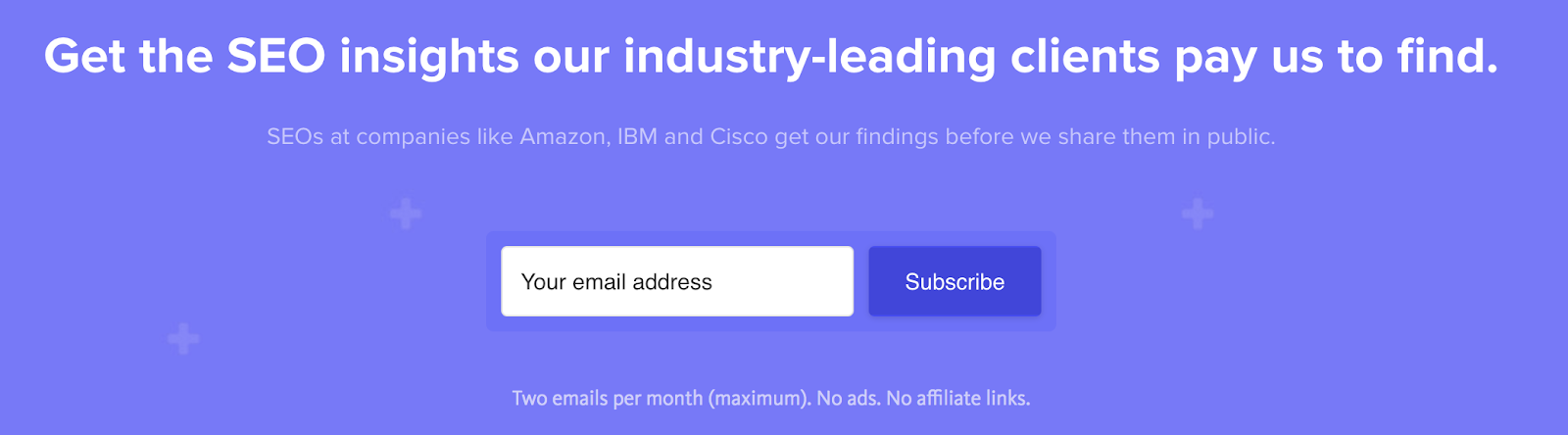 Screenshot Example of an Email Sign up Widget on Detailed