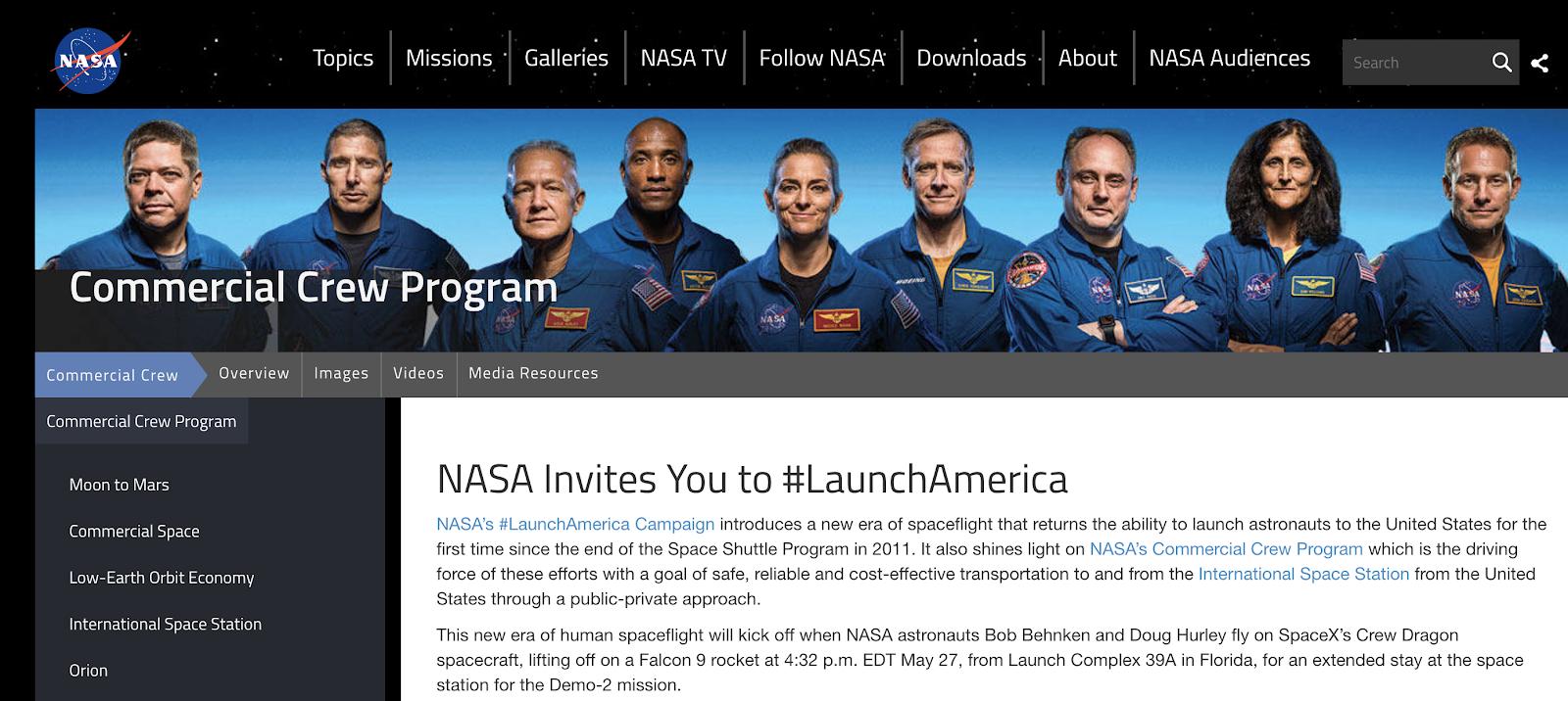 Nasa Example of Using Hashtags on Twitter (Screenshot)
