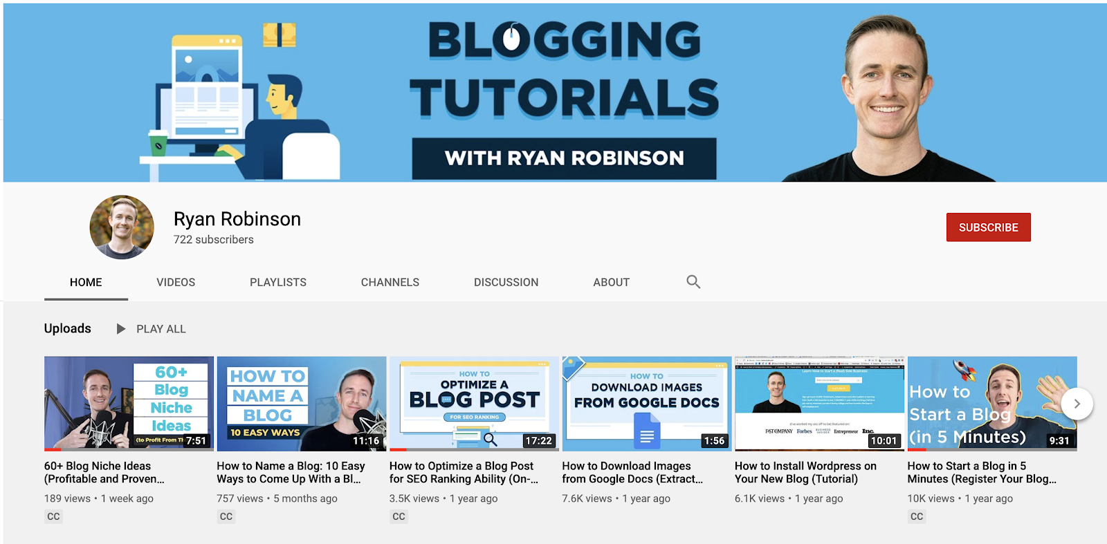 Screenshot of YouTube Channel Examples