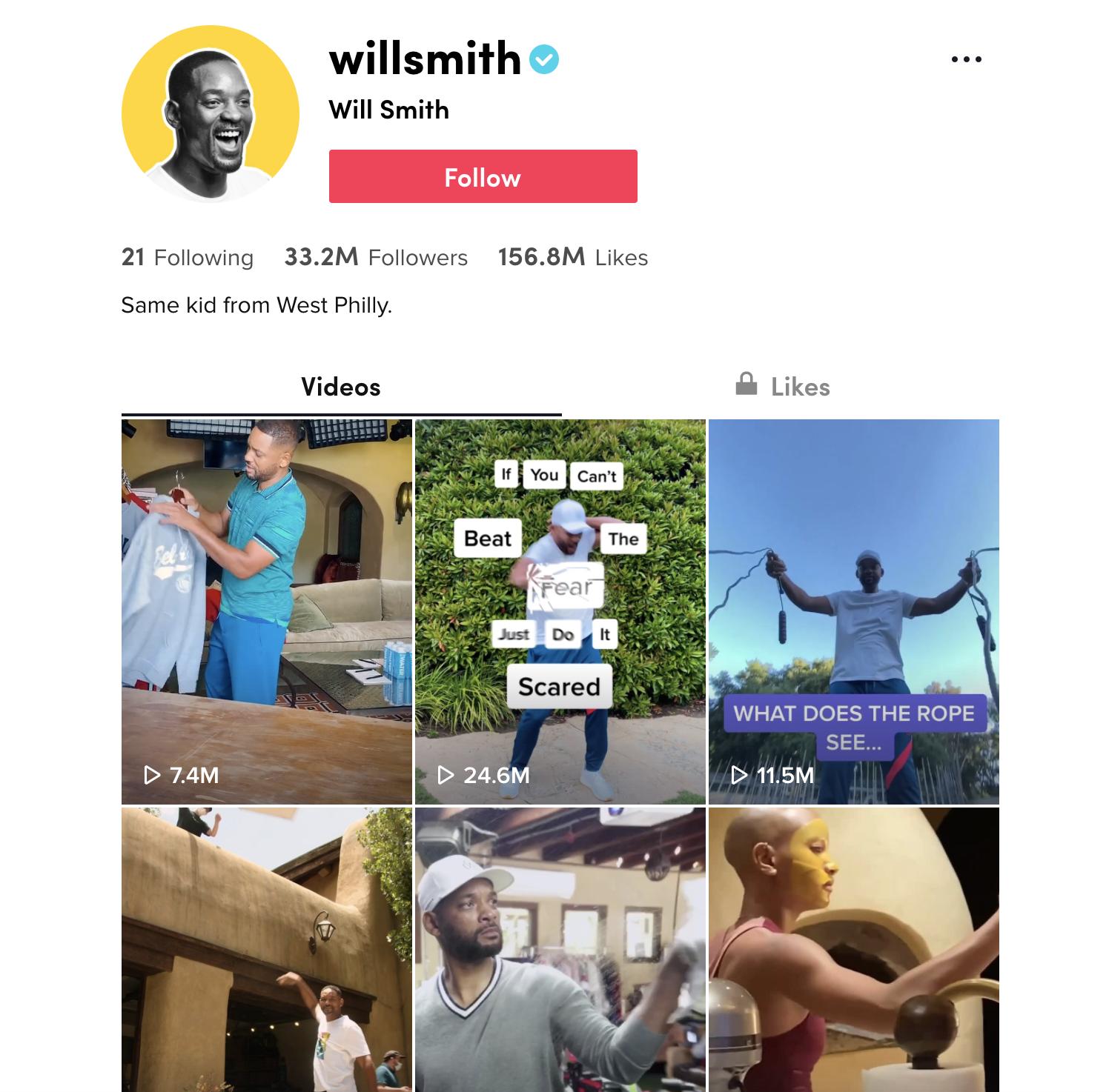 Will Smith's TikTok Account (Screenshot) Example of Using TikTok for Blog Marketing