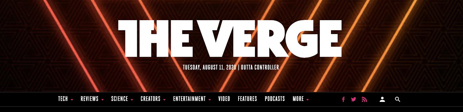 The Verge Homepage Screenshot (Blog Branding Example)