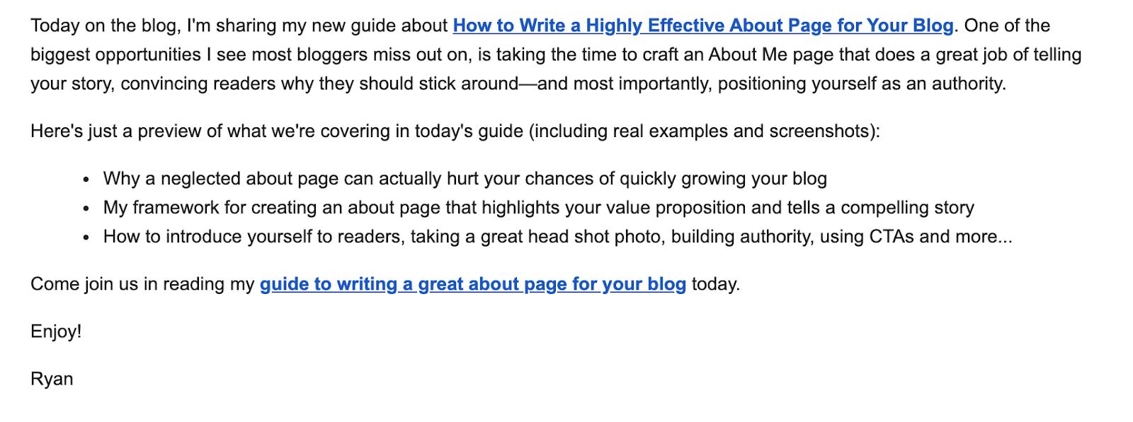 Example of an Email Campaign (Blog Post Notification Screenshot)