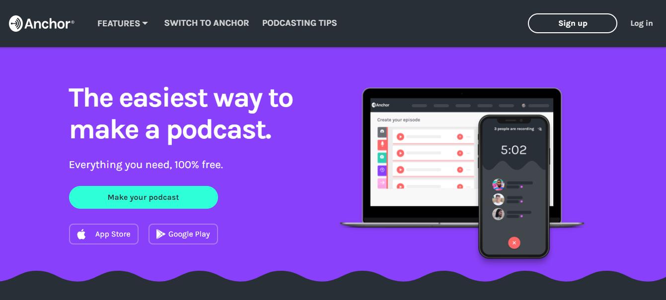 Anchor Best Free Podcast Hosting Platform (Homepage Screenshot)