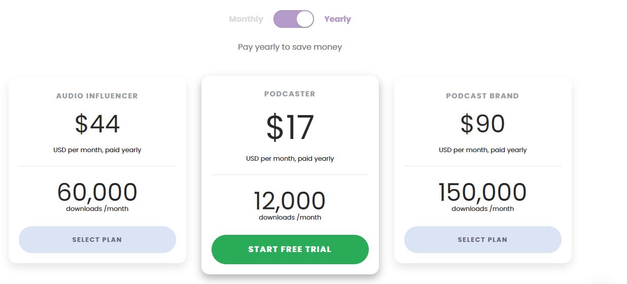Captivate Pricing Screenshot (Best Podcast Hosting Platforms and Plans)