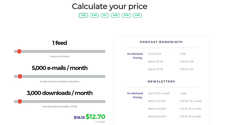 FeedPress Pricing Plan Calculator (Screenshot)