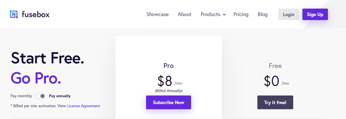 Fusebox Pricing Table (Screenshot)