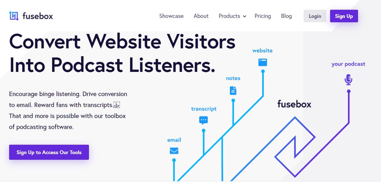 Fusebox Podcast Hosting Plans (Homepage Screenshot)