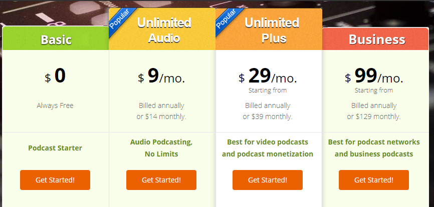 PodBean Pricing Table and Comparison (Screenshot)