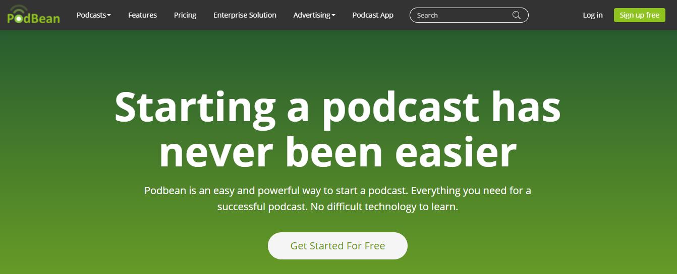 PodBean Homepage Screenshot (Hosting)