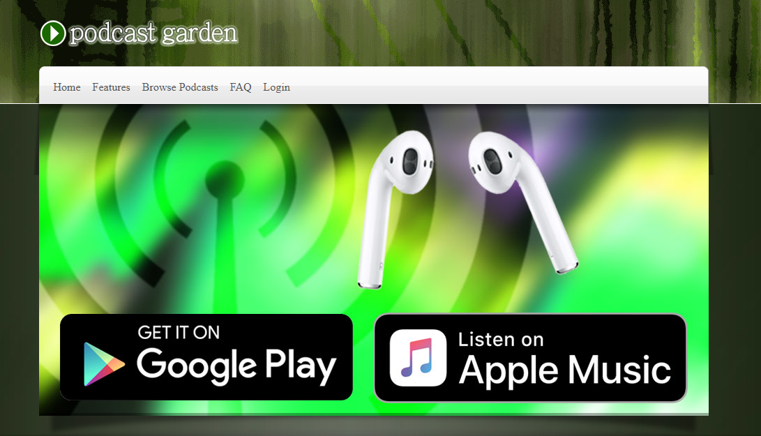 Podcast Garden Homepage Screenshot