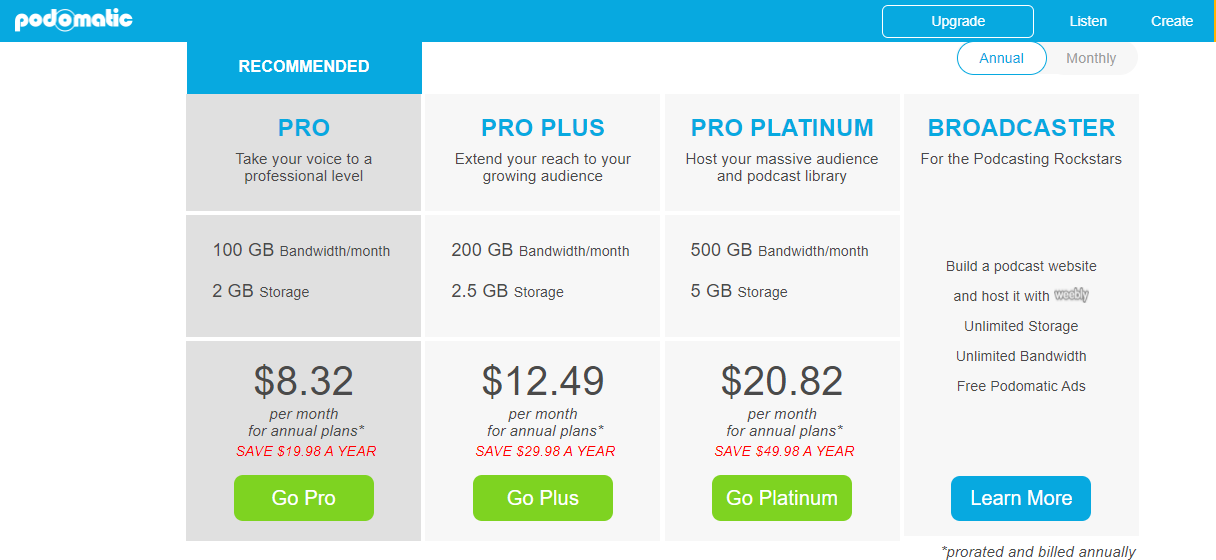 Podomatic Podcast Hosting Pricing (Screenshot)
