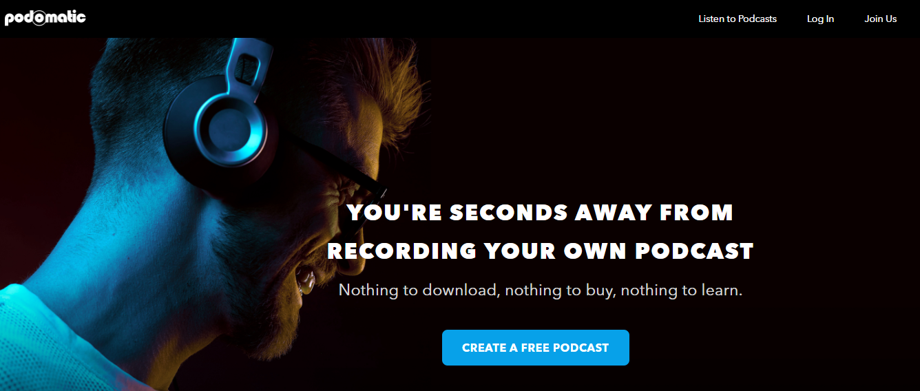 Podomatic Homepage Screenshot