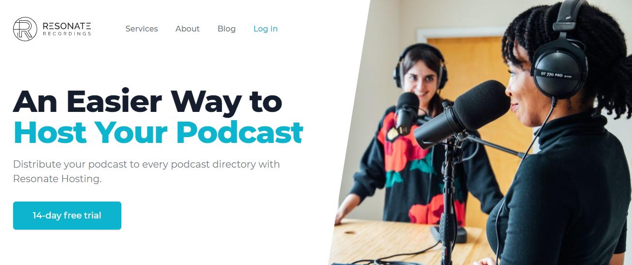 Resonate Recordings Homepage Screenshot (Podcast Hosting)