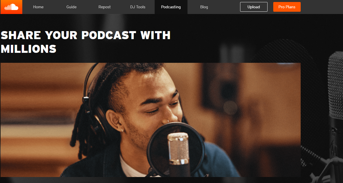 SoundCloud Homepage Screenshot of Podcast Hosting