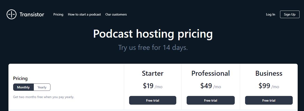 Transistor Podcast Hosting Pricing (Screenshot) Table