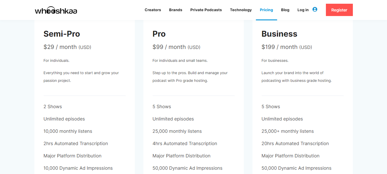 Screenshot of Pricing and Podcast Hosting Plans for Whooshkaa