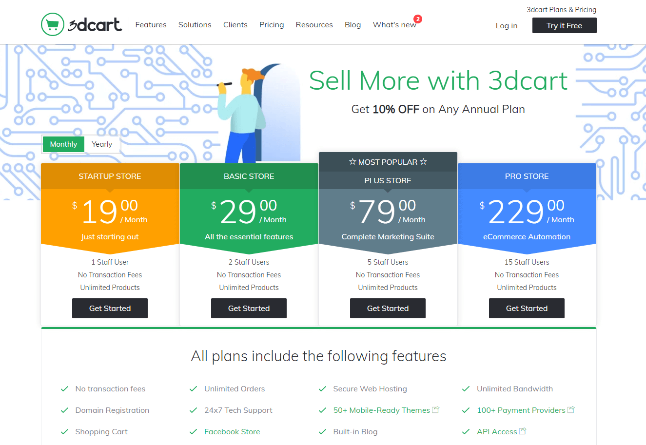 3dcart Pricing Table (Screenshot) for eCommerce