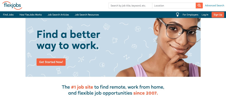 Flexjobs Homepage Screenshot (Best Remote Jobs Site) Example