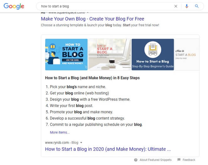 How to Start a Blog Rich Snippet Screenshot (Top Ranking in Google Search Results Example)