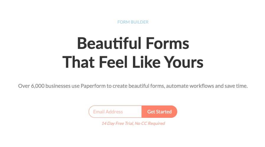 Paperform (Blogging Tools) Homepage Screenshot of Form Builder for Websites