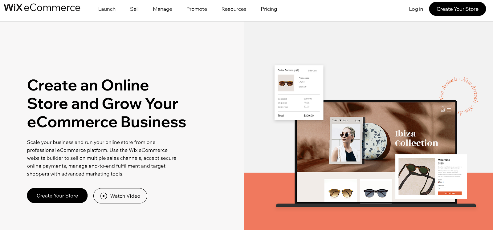 Wix eCommerce Website Builder (Screenshot of Homepage and Features)