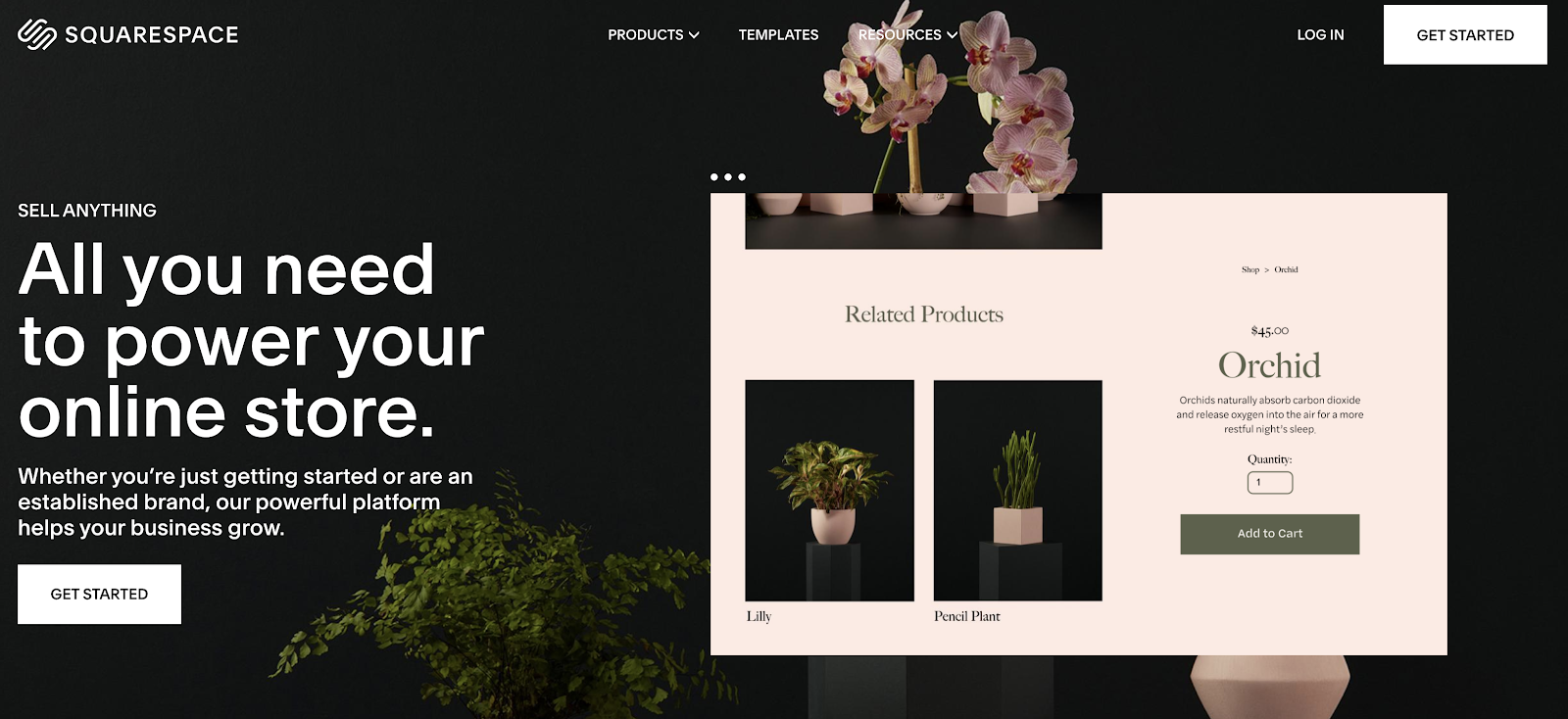 Squarespace eCommerce Website Builder (Landing Page Screenshot)