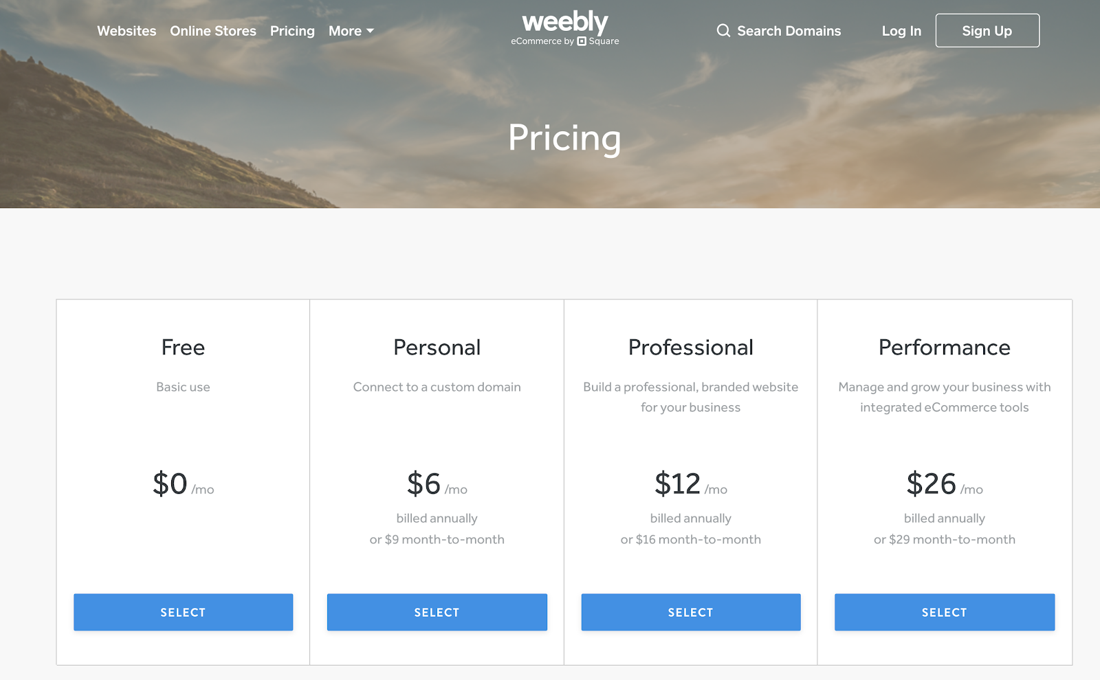 Weebly Pricing Plans Explained (Screenshot)