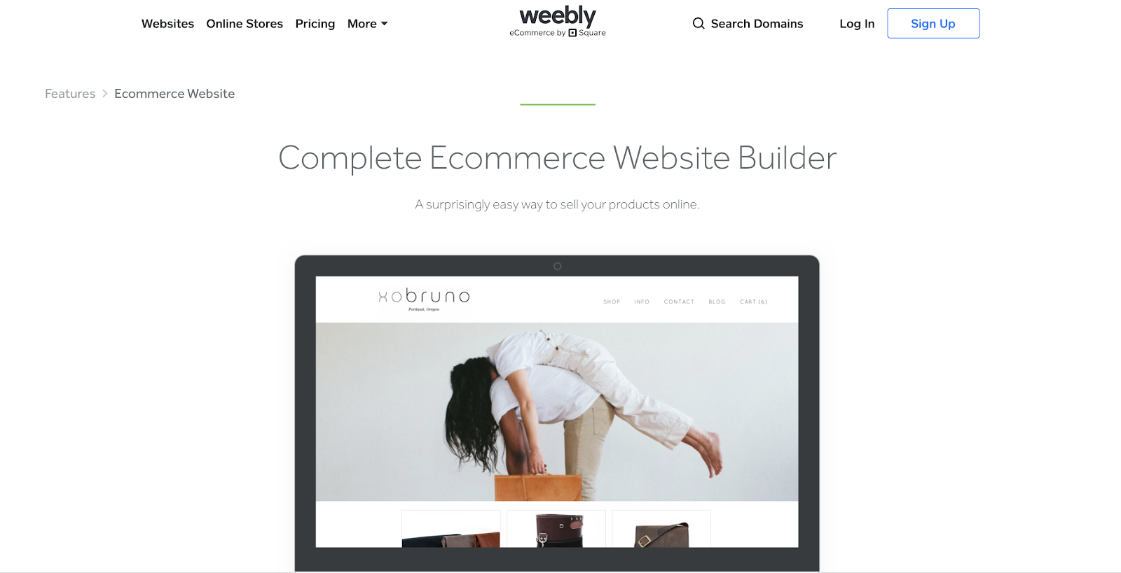Weebly eCommerce Website Builder Homepage Screenshot