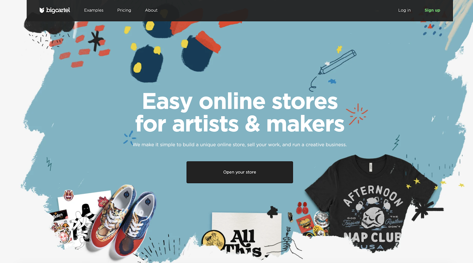 Big Cartel (Indie-Focused eCommerce Website Builders) Homepage Screenshot