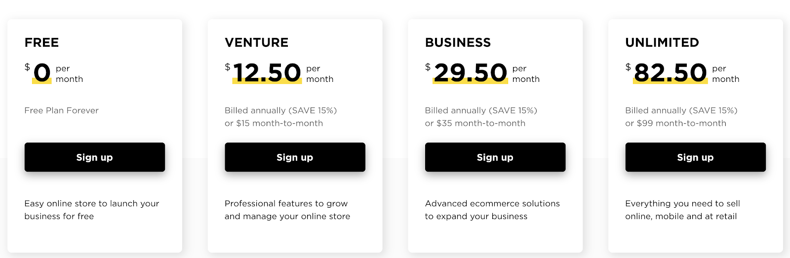 Ecwid Pricing Plans (Table Screenshot)