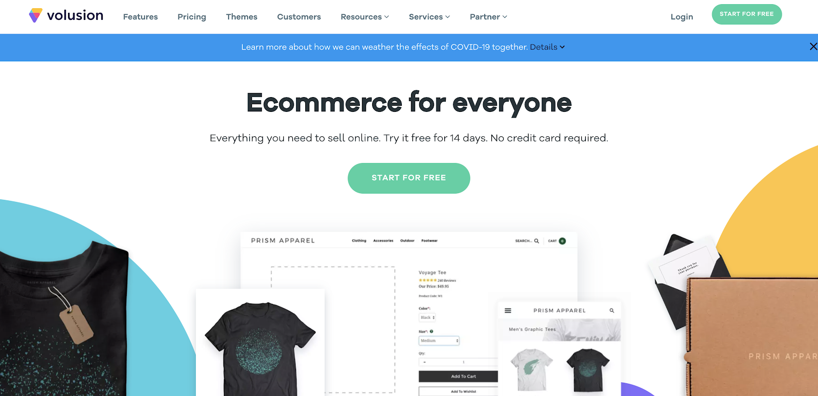 Volusion eCommerce Website Builder (Homepage Screenshot)