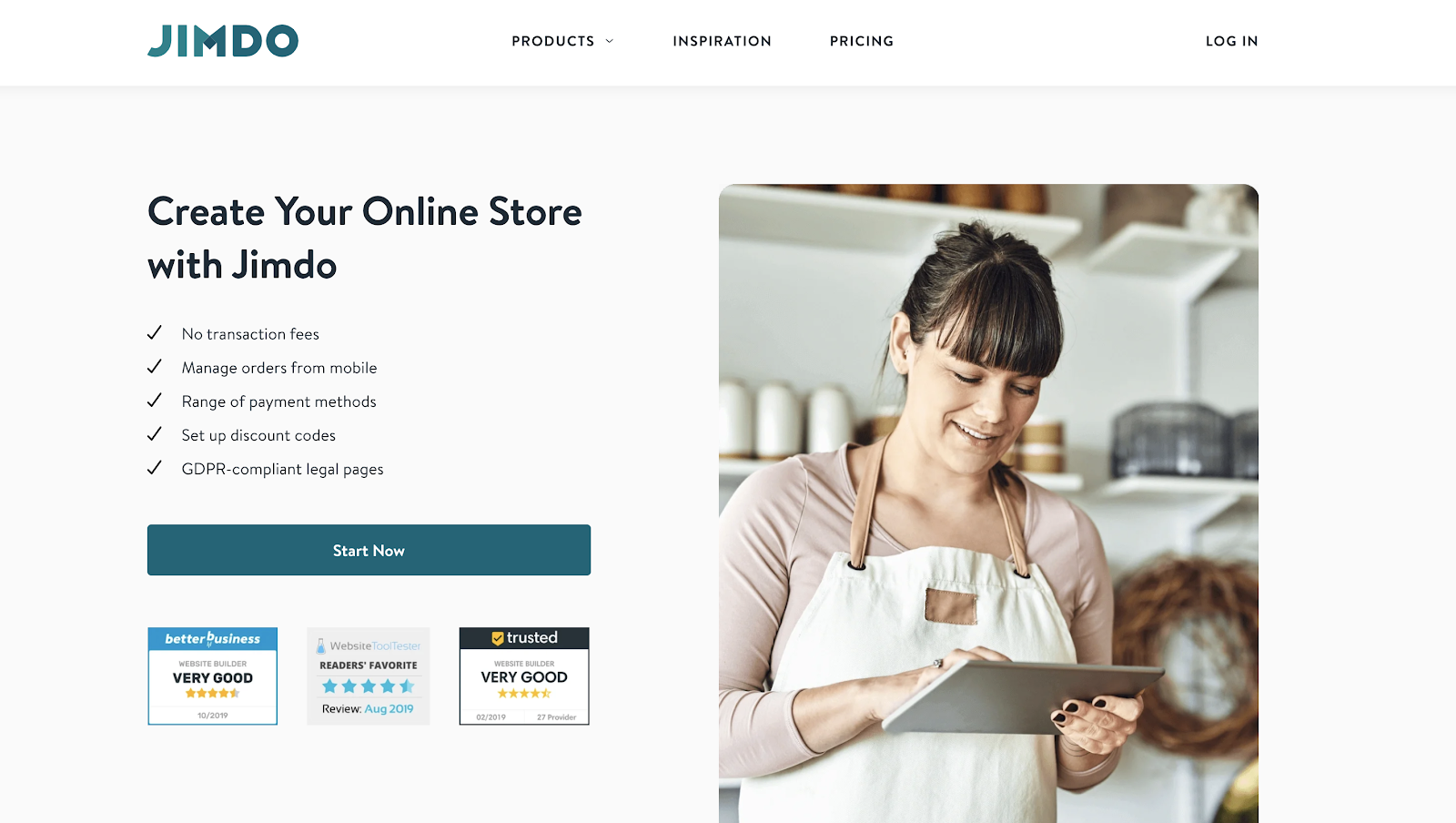 Jimdo eCommerce Website Builder Homepage Screenshot