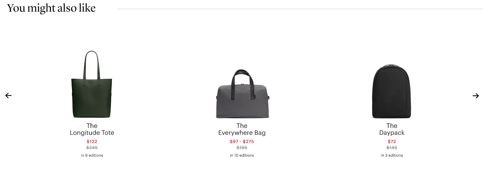eCommerce Product Examples (Away Travel)