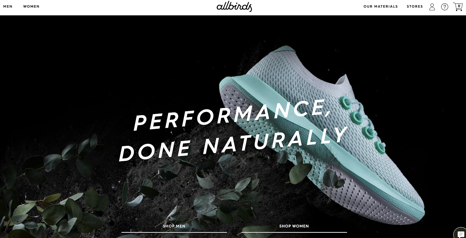 Allbirds Homepage (eCommerce Website Builder Example Store) Screenshot