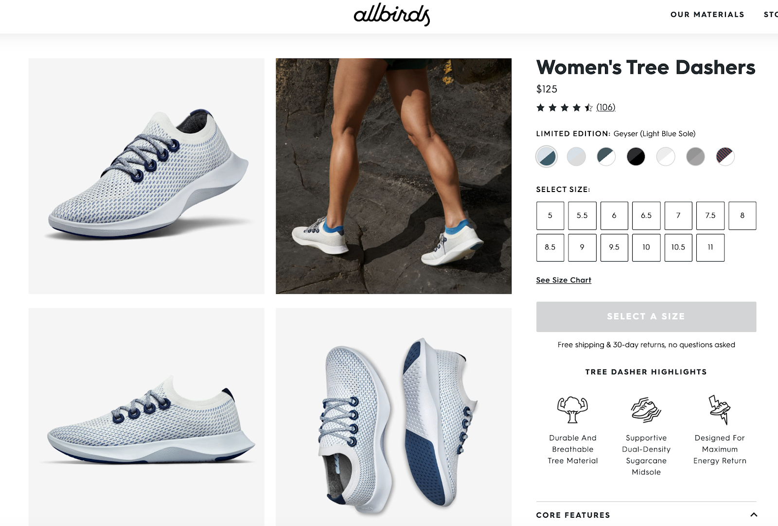 Women's Running Shoe Product Page Example (Screenshot) - Allbirds