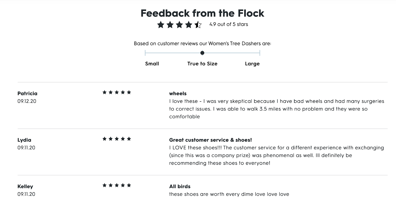 Product Review Placement on an eCommerce Website (Allbirds Example)