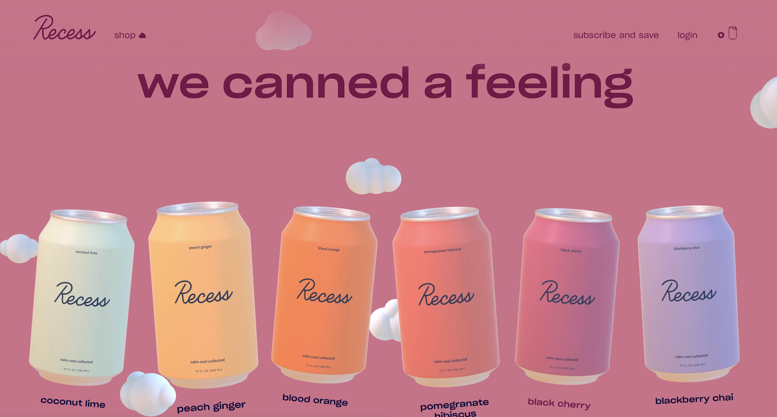 Recess Drinks Screenshot (Example of eCommerce Website Listing Pages)