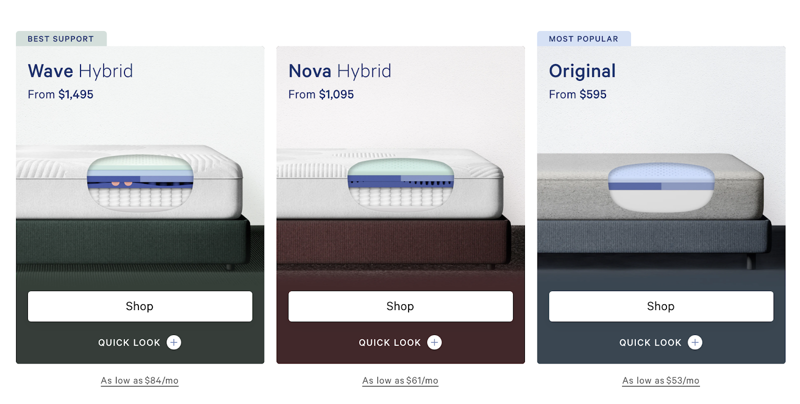 Casper Mattress Online Shopping Experience (Product Screenshots)