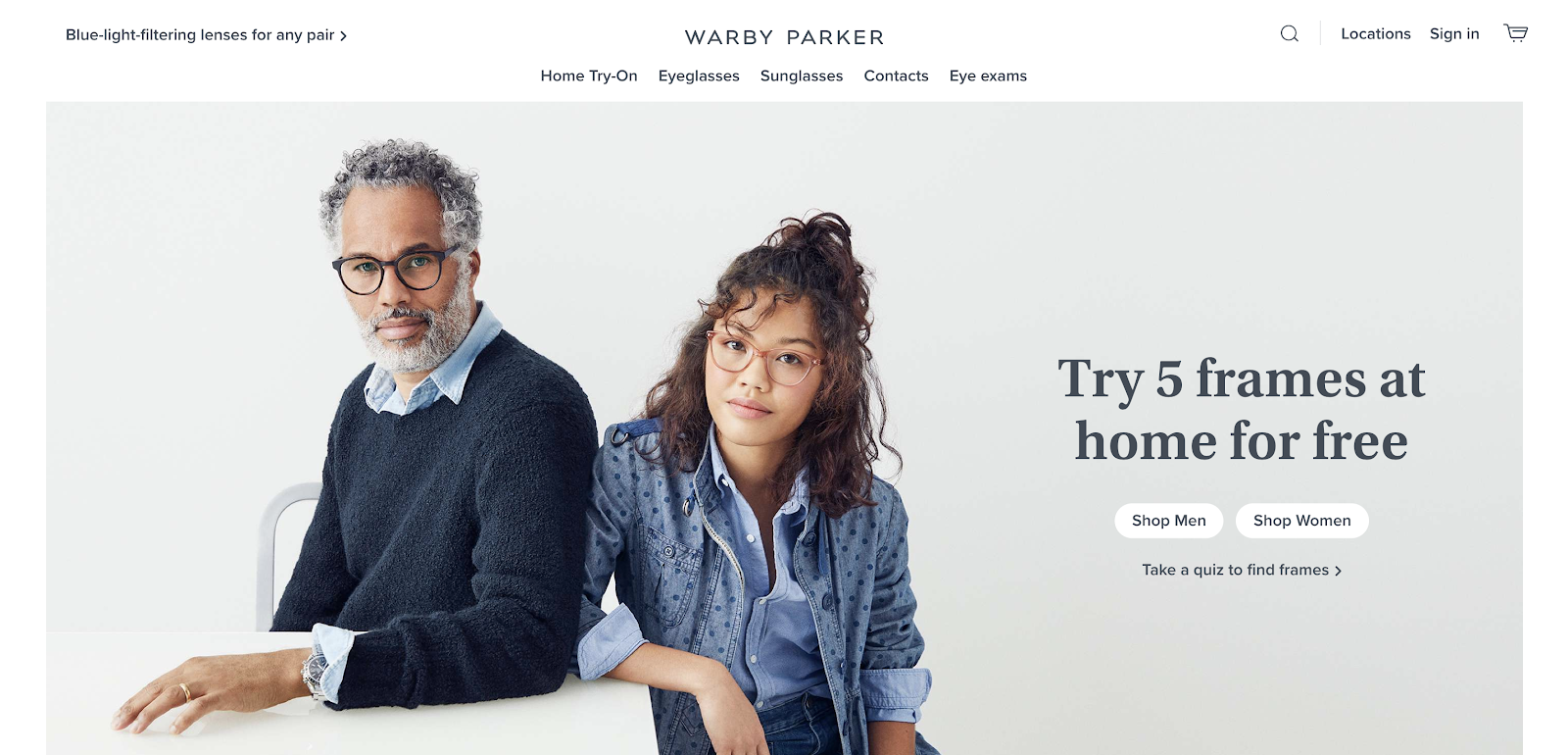 Warby Parker Homepage Screenshot (Original eCommerce Website Example)