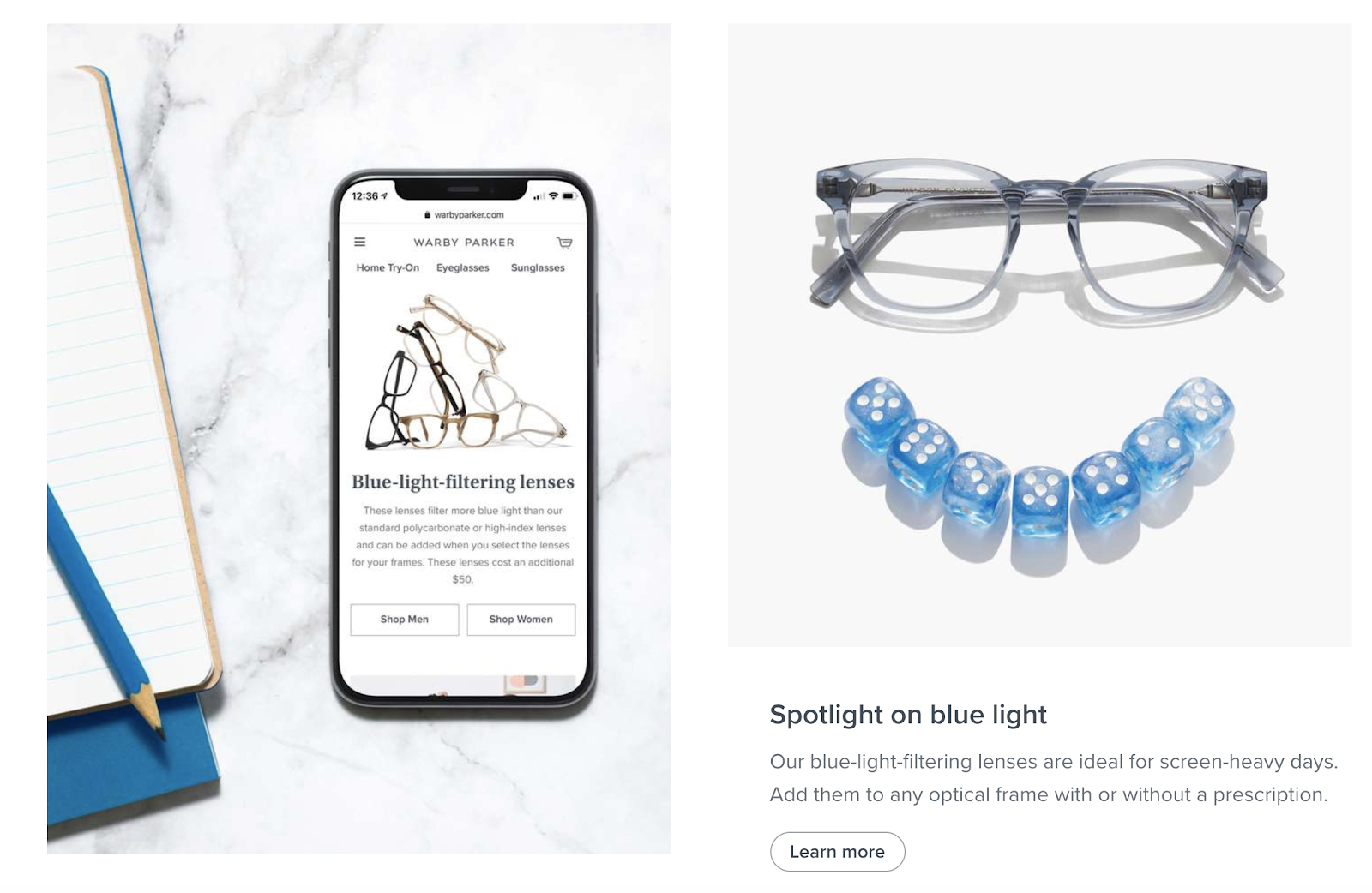 Product Categorization Examples on Warby Parker