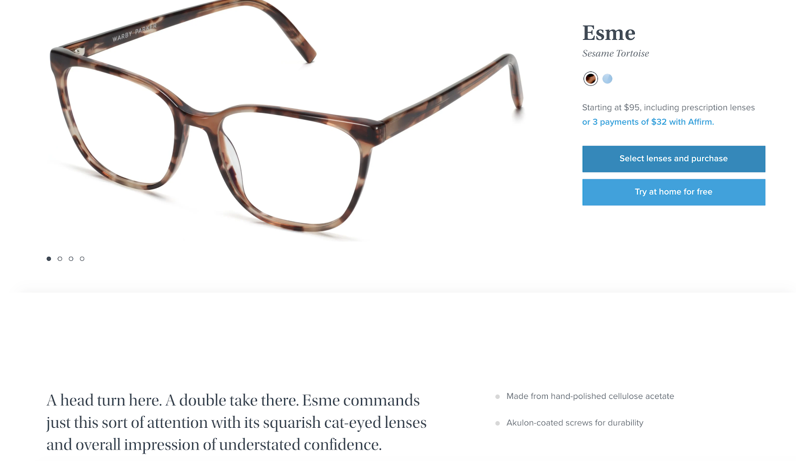 Beautiful Product Page Example (Warby Parker)