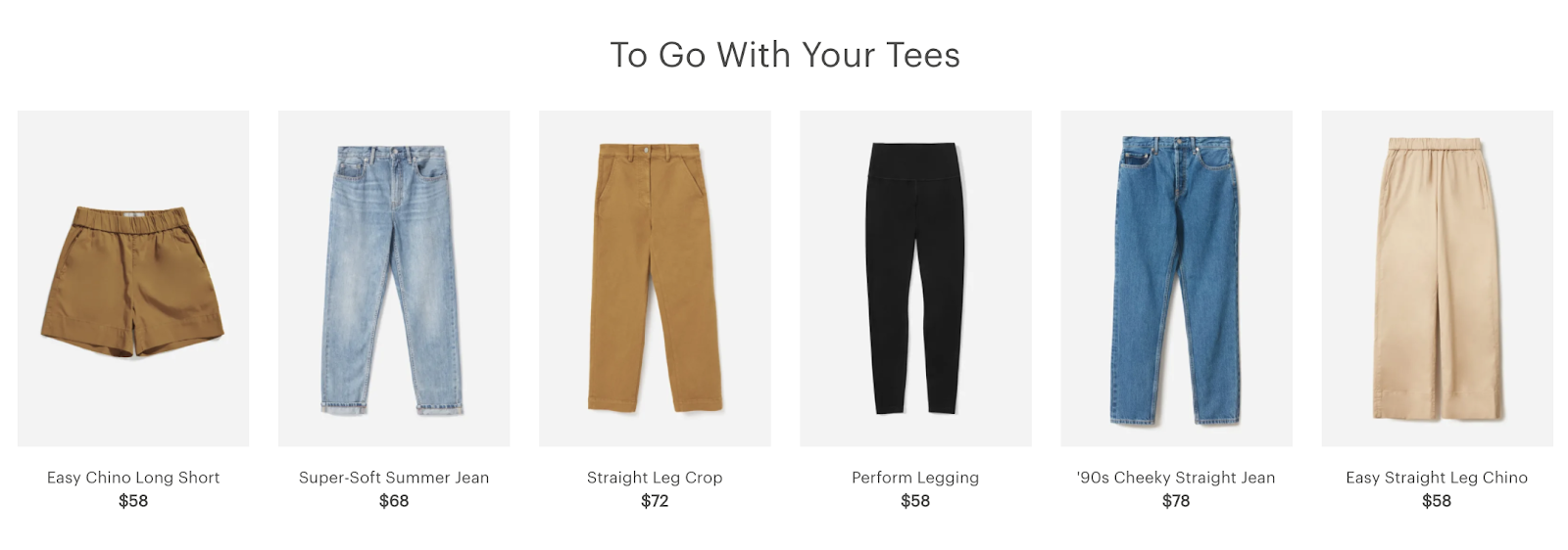 Checkout Upsell Opportunity Examples (Everlane Screenshot)