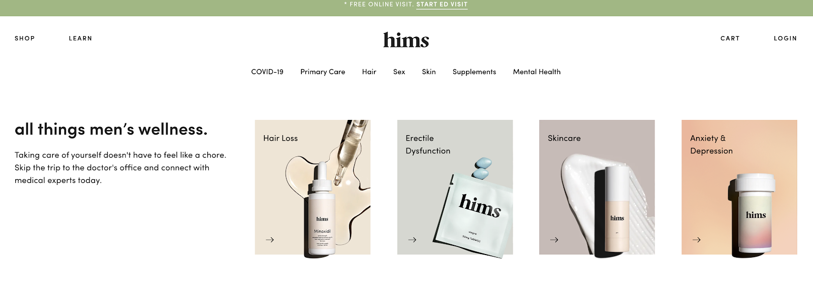 Hims eCommerce Website Example (Screenshot)
