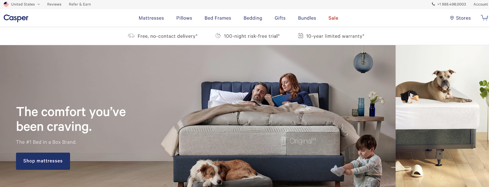 Casper Mattress Homepage Screenshot (Example)