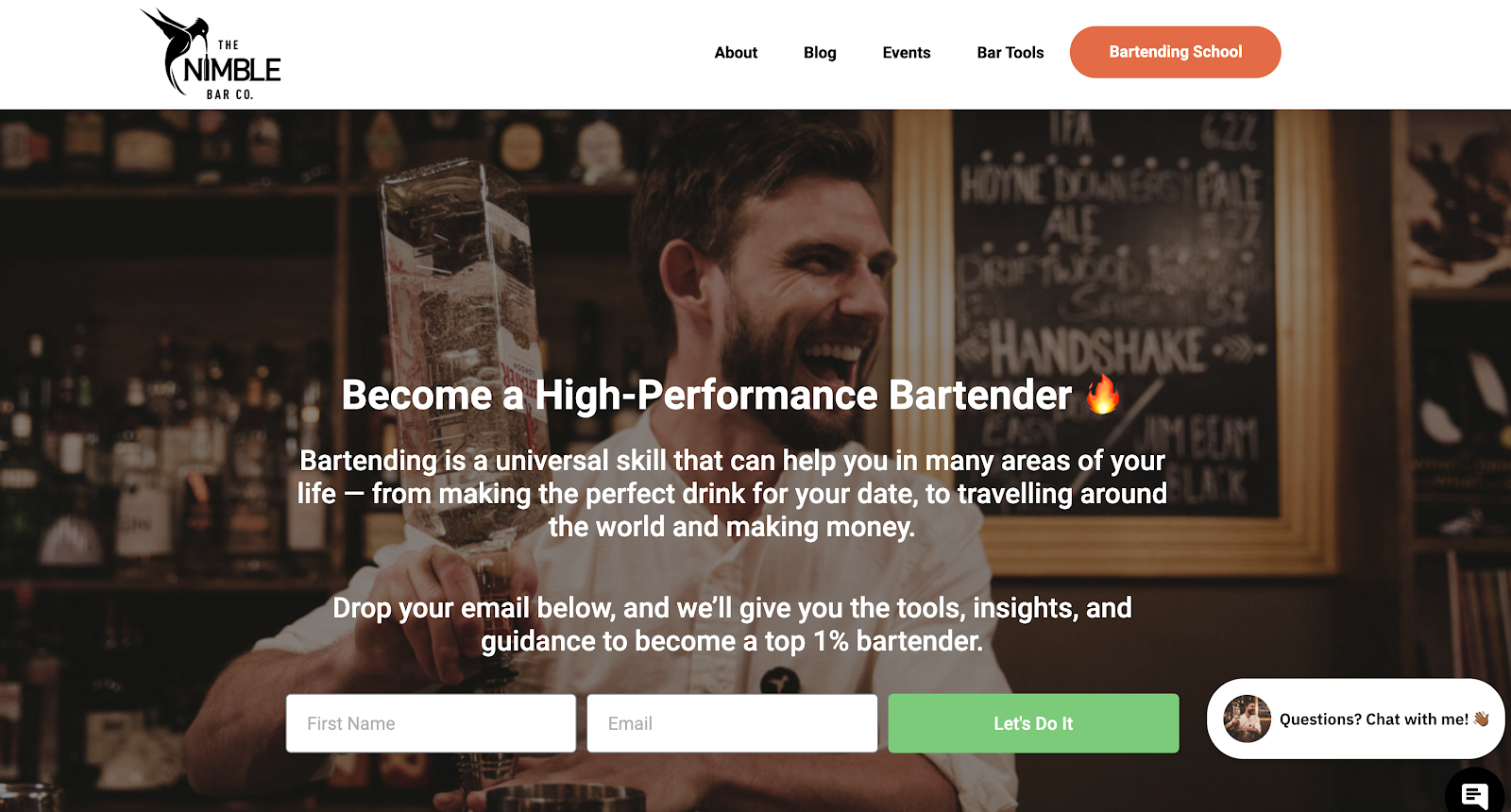 Nimble Bar Tools eCommerce Website (Screenshot)
