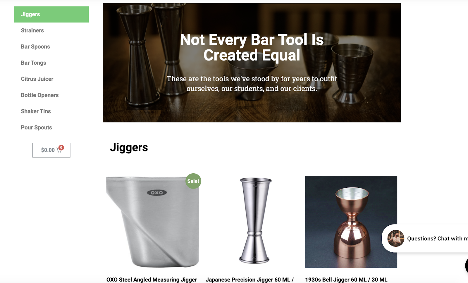Blogger eCommerce Shop Screenshot (Nimble Bar Tools)